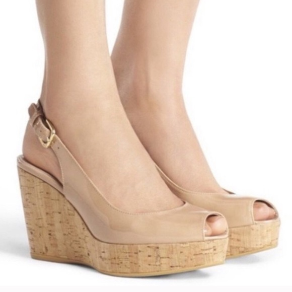 Stuart Weitzman Nude peep toe wedges sandals